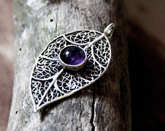 Pendant with amethyst fantasy/goth/gothic/pagan/witch/witchy