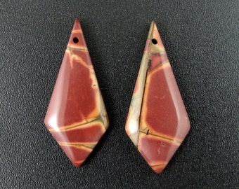 Awesome Cherry creek jasper earrings pair, Natural cabochon, Jewelry making supplies S7426