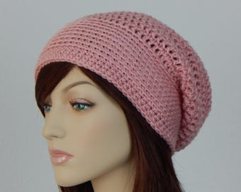 Pale Pink Slouch Hat, Pink Crochet Hat, Light Pink Slouchy Beanie, Womens And Teens Slouchy Hat, Mod Slouch, Boho Hat, MarlowsGiftCottage