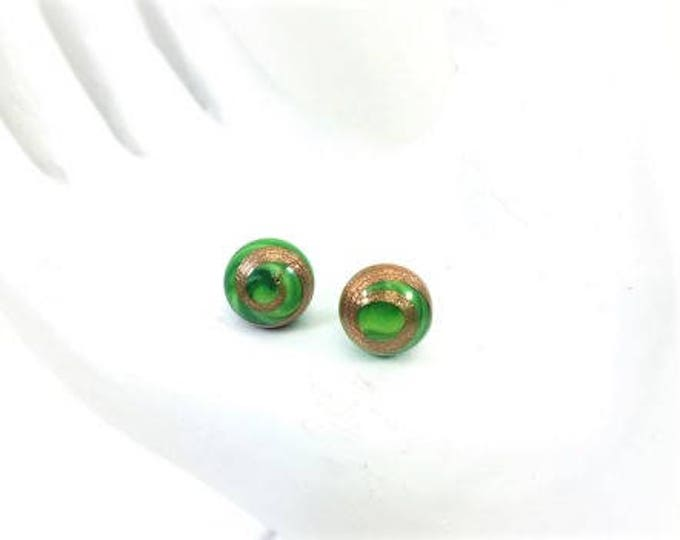 Vintage Japanese Green Glass Cabochon Earrings Sterling Silver 8mm Stud