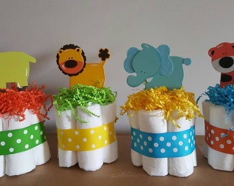 4 Jungle zoo mini diaper cakes, baby shower centerpiece, decoration