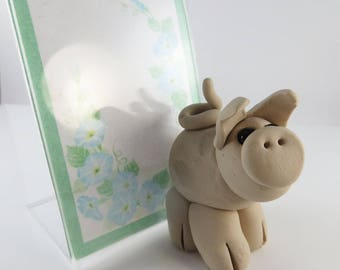 Polymer clay pig photo frame