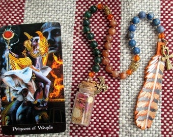 Egyptian Goddess Pagan Prayer Beads with Charm Bottle