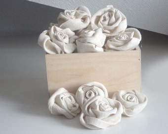 Burlap Roses Flower - Set of 12 handmade fabric rosettes - Wedding Decor - Flower Ornament - Bridal Wedding - Party Favor - Rustic Chic