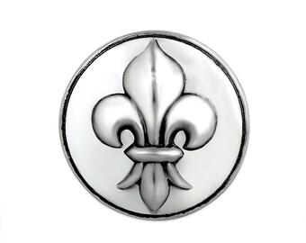 1 PC 18MM Fleur De Lis Silver Candy Snap Charm Limited Edition CC3127