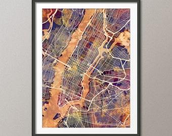 New York City Street Map USA, Map of NYC, Art Print (2639)