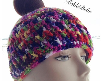 Adult and Child Sizes - Messy Hair Ponytail Hat - Bun Hat - Runner Hat-  Handmade - Crocheted - Rainbow Variegated Yarn