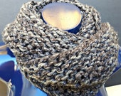 Outlander Inspired Chunky Knit Infinity Cowl Heathered Grey and Dark Grey Cosplay Renfaire