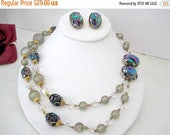 Iridescent Bead Necklace -  Vintage Unsigned Vendome -Necklace Earrings Set - Blue  Iridescent Beads