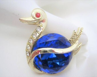 Swan Brooch - Large Blue Cabochon - Clear  Rhinestones - Vintage Elegant 60s  Pin