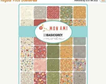On Sale Mon Ami Fat Quarter Bundle by Basic Grey for Moda - 40 SKUS - One Bundle - 30410AB