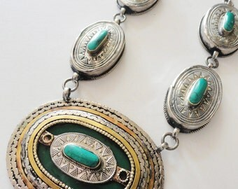 Vintage Ethnic Turquoise Necklace