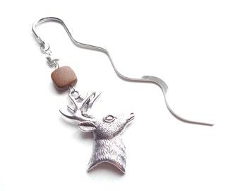 Deer Bookmark, Animal Bookmark, Silver Bookmark, Wood Bookmark, Gift For Her, Gift For Him, Teacher Gift, Graduation Gift, Reader Gift