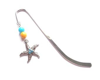 Starfish Bookmark, Sea Bookmark, Nautical Bookmark, Turquoise Bookmark, Yellow Bookmark, Sea Lovers Gift, Handmade Bookmark, Gift For Her