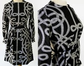 60s 70s Lanvin Mod Dress Abstract Novelty Print Black White
