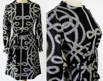 60s 70s Lanvin Mod Dress Abstract Novelty Print Black White