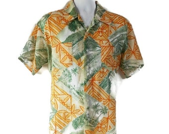 40%OFFSALE 70s Hawaiian Shirt Waikiki Holiday Beach Tiki Luau Novelty Print