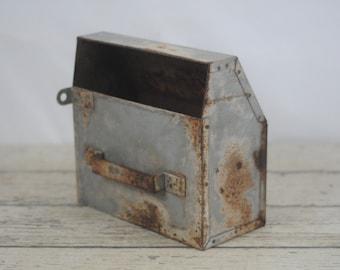 Vintage Industrial Metal Wall Bin Box Metal Storage Metal Decor