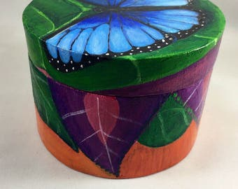 Blue Butterfly - Decorative Handpainted Wooden Box - Original Artwork