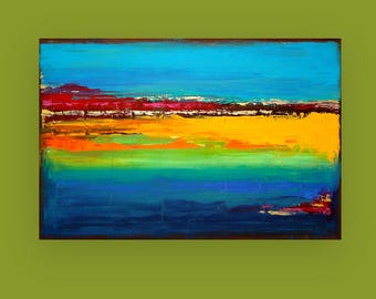 "Ora Birenbaum Art, Colorful Abstract, Ocean, Modern, Seascape Acrylic Abstract Painting Titled: Island Dreams 24x36x1.5"" by Ora Birenbaum"