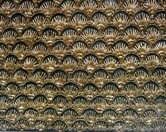Opulent Gold Metallic Embroidered Clutch Bag