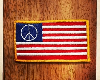 American Flag PEACE SIGN Patch Authentic Vintage 60s 70s Hippy Hippie Boho