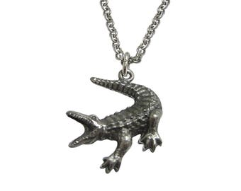 Textured Alligator Pendant Necklace