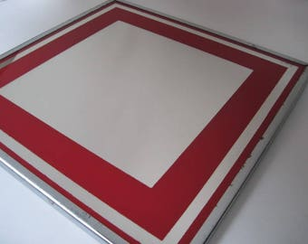 Vintage Square Mirror with Red Border