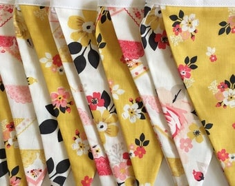 Pink and Mustard fabric banner. Vintage Floral Banner. Mustard and pink bunting. Pink and mustard Floral banner. Mustard and pink banner.