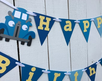 Blue Truck Birthday Banner/ Blue Truck Party/ Garland/ Blue/ Yellow/ 1st Birthday/ Custom Birthday Package/ Little Blue Truck Theme