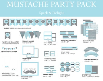 Printable Party Pack - Complete Alphabet included - Little Man Baby Shower - Mustache Party Pack - Boy Baby Shower - Blue and Gray
