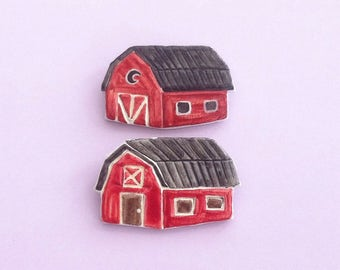 Red Barn Handmade clay pin