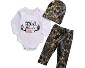 3pc Baby boys clothing, New Baby Outfit, Baby Shower Gift,Crawl Walk Hunt, Boys Infant clothing