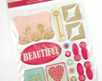 DCWV Be Mine Epoxy Stickers-Glitter Stickers-3D Stickers-Scrapbook Stickers-Shabby Stickers-Card Embellishment-Destash Stickers-Shabby Pink
