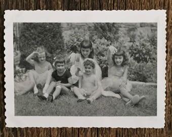 Original Vintage Photograph Fairy Girls