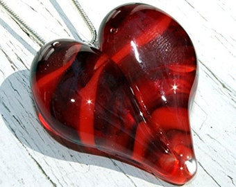 Heart Necklace Glass Jewelry, Flamework Pendant Lampwork Boro, Hand blown Red Necklace