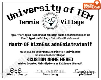 Undertale University Of Tem Degree Diploma - Customized Print Digital Download