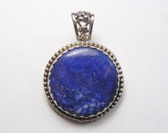 Lapis pendant. natural cabochon, SS setting, lots of flashing pyrite, blue and white lapis, (j21071)