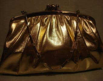 Vintage 1960s Gold Patent Clutch with Chain Strap