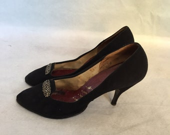 SALE 1950s suede stilleto shoes uk sz 7