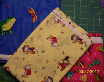 Fun Prints 100% Cotton Fabric, Fat Quarters, Frogs and Dragonflies, Bears and Bunnies, Party Hats