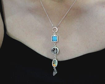 Real butterfly jewelry Wife jewelry idea Delicate Y necklace Lariat necklace Long dainty necklace Dainty silver lariat Mom birthday necklace