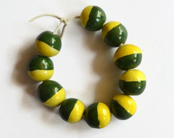 10 Handmade Ceramic beads, yellow and green beads, earthy handmade ceramic beads,  African Beads, handmade ceramic beads, yellow beads
