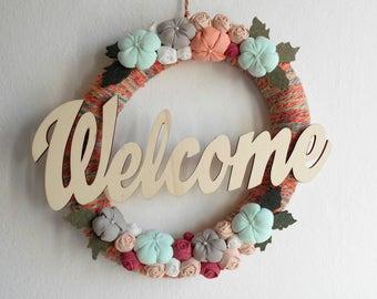 Welcome wreath front door decoration Benvenuto Bienvenido Bienvenu