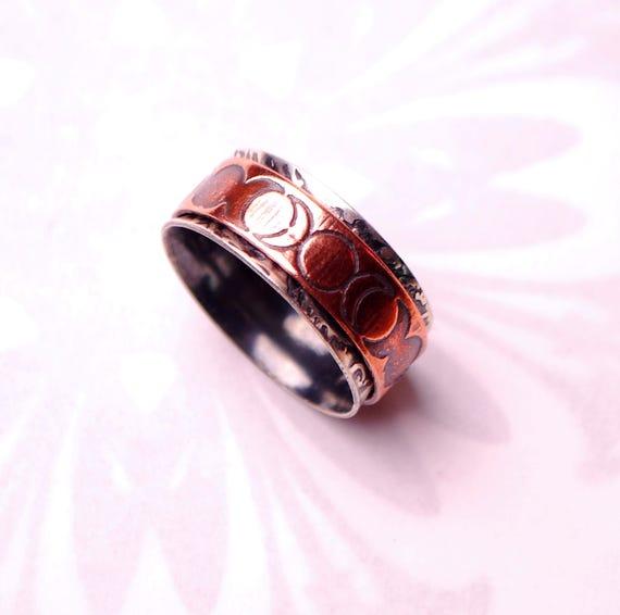 Spinner ring triple moon goddess pagan wedding ring goddess