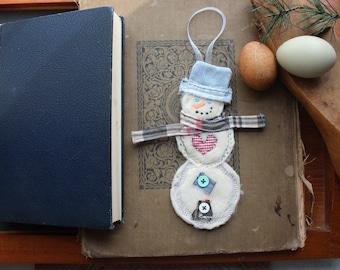Snowman Soft Happy Fabric Handmade Christmas Ornament