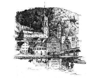 Heidelberg from across the Neckar — limited edition archival print
