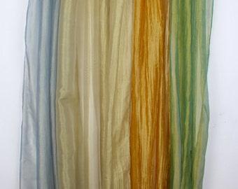 SHEER window curtain, Metallic, gold curtain, white gold, tab top, transparent, clear organza boho chic, organza curtain, Crush textured,
