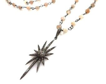 Pave Diamond Starburst And Chalcedony Necklace/ Boho Necklace/Diamond Necklace