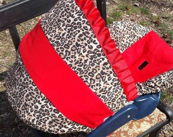 Cheetah or Leopard baby car seat cover infant seat cover slip cover Graco red